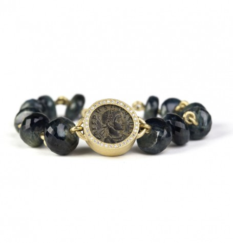 Roman Coin and Kyanite Beads Bracelet