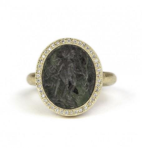 Carved Jade Intaglio Ring