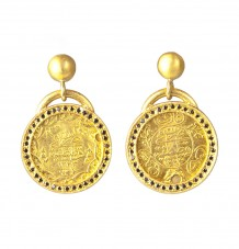 Ancient Ottomon Coin Black Diamond Earrings