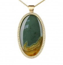 Jade & White Diamond Pendant Necklace