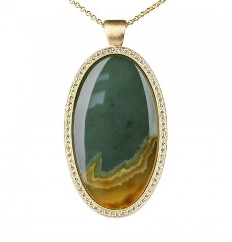Jade & White Diamond Pendant Necklace