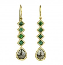 Rose-cut Diamond Emerald 18k Gold Earrings