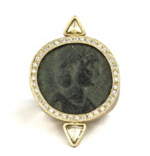 Ancient Roman Coin White Diamond Ring