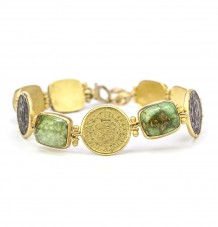 Gold Spanish Coin and Turquoise Bracelet
