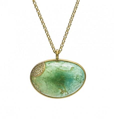 Turquoise White Diamond Map Necklace
