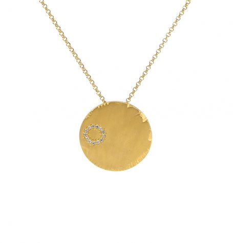Gold disc pendant necklace