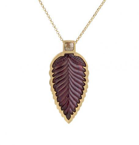 Carved Leaf Ruby Pendant Necklace
