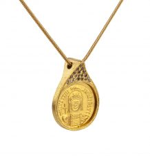 Antique Gold Coin and Champagne Diamond Necklace