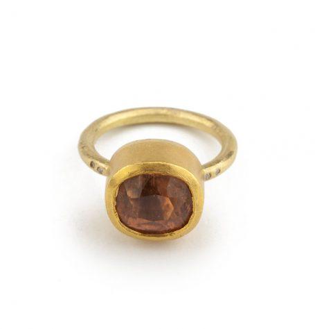 Peach Coloured Tourmaline Ring