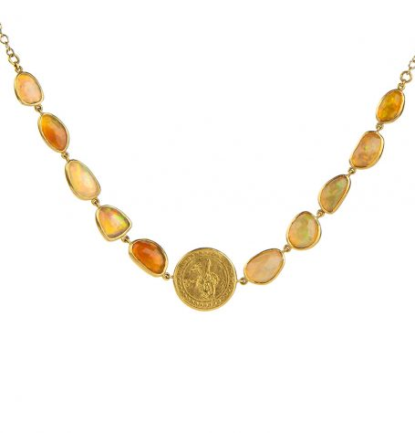 Opal and Antique Gold Coin Necklace