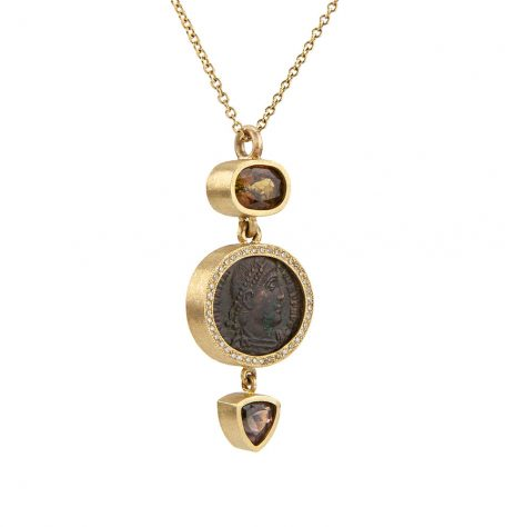 Antique Roman Coin and Tourmaline Necklace