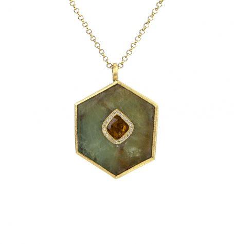Honed Aquamarine Diamond Pendant