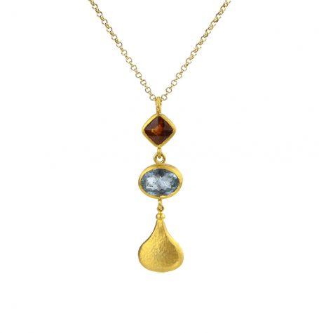 Aquamarine and Garnet Gold Bottle Pendant Necklace
