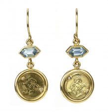 Antique Gold Coin and Aquamarine Earrings