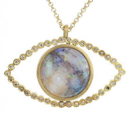 Opal White Diamond Eye Pendant Necklace