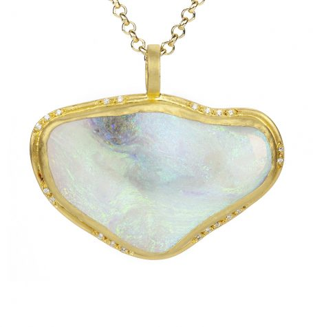 Organic Shaped Australian Opal Pendant Necklace