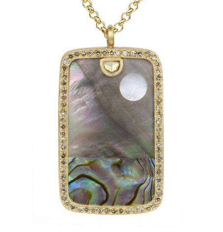 Paua Shell Landscape Pendant Necklace
