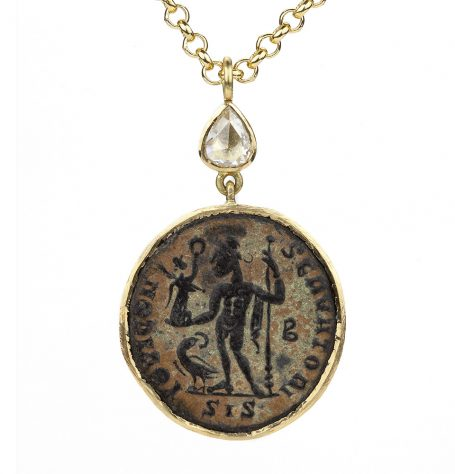 Rose Cut Diamond and Antique Coin Necklace