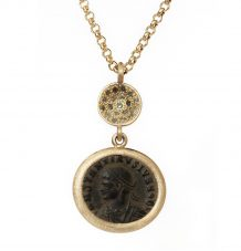 Bronze Roman Coin Green Pave Diamond Necklace