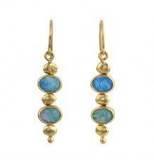 Australian opal gold nugget earrings