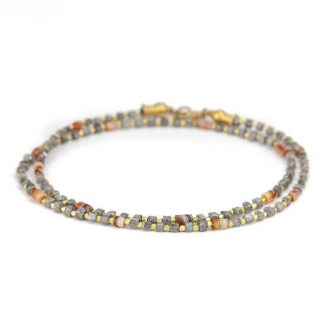 Grey diamond beaded necklace