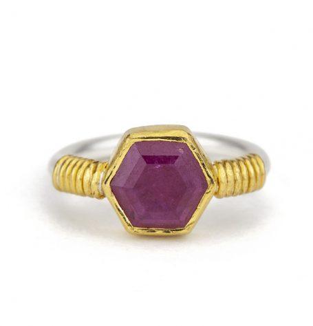 Hexagon Ruby ring