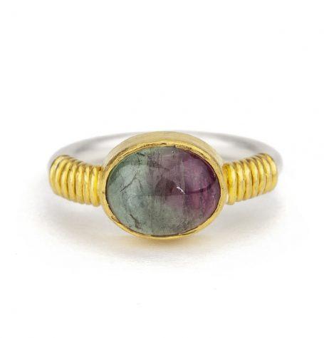 Bi Colour Cabochon Tourmaline Ring