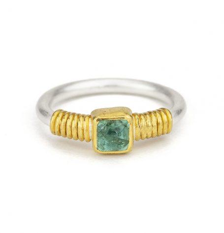 Tourmaline gold rope ring