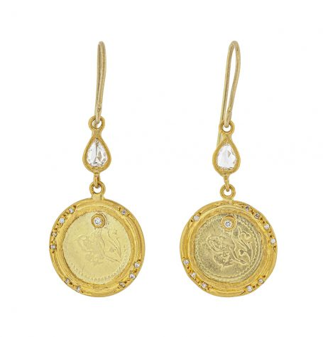 Gold Coins and diamonds earrings