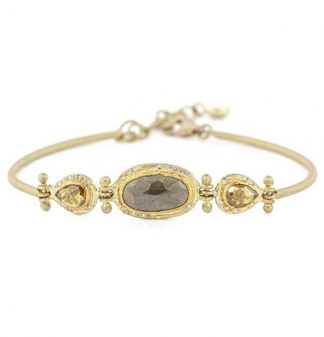 Diamond hinged bracelet