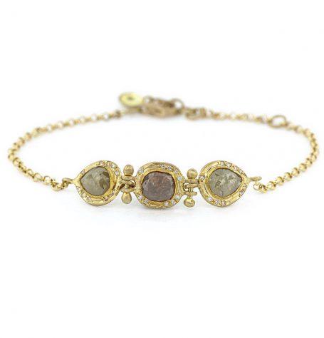 Diamond triple rose cut bracelet