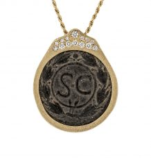 Bronze coin and white diamonds pendant
