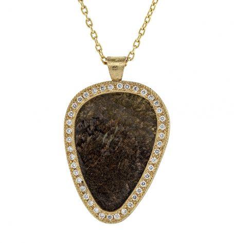 Sliced diamond with white diamonds pendant