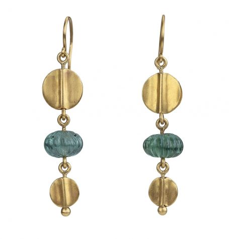 22k gold disc and carved tourmaline earrings