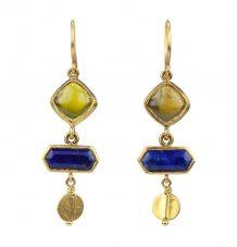 Cabochon tourmalines and lapis lazuli earrings