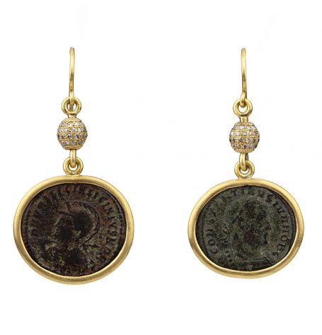 Bronze roman coins and diamond spheres earrings
